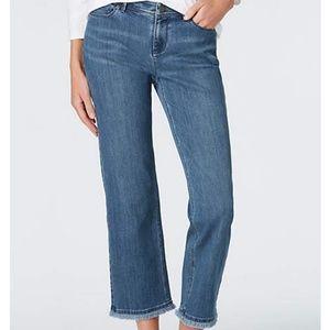 J JILL Fringed straight leg crop denim jeans SZ 12